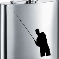 Visol Gone Fishing Stainless Steel 7oz Hip Flask