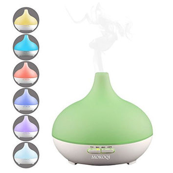 MOKOQI 300ml 9-10 Hours Aromatherapy Essential Oil Diffuser Ultrasonic Aroma Humidifier with Waterless AUTO Shut Off Function and 7 Color Changing LED and 4 Timers and BPA Free for Yoga Office Bedroom