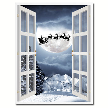 Santa Claus Picture 3D French Window Canvas Print Gifts Home Decor Wall Frames