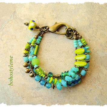 Boho Colorful Bracelet, Fun Playful Layered Bracelet, Bohemian Jewelry, Whimsical Art Jewelry, bohostyleme, Kaye Kraus