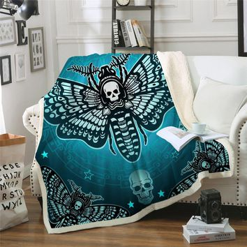 Skull Moth Sherpa Throw Blanket Gothic Skull Butterfly
