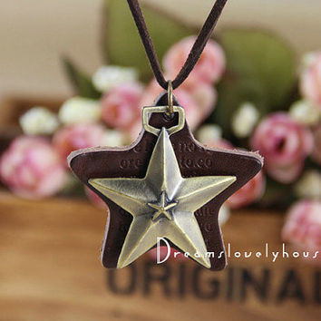 Christmas Gift, Star Necklace, Star Pendant, Star Jewelry, Brass Star Necklace, Bronze Lariat Necklace, Woodland Jewelry, Brown Leather Star