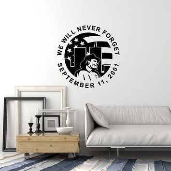 Vinyl Wall Decal Firefighter Memorial Day 9/11 Patriotic Decoration Art Stickers Mural (ig6006)