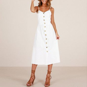 Classic Style Button Front Sundress