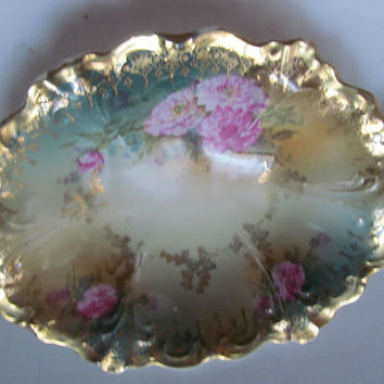Peonies Edwardian Antique German Porcelain Rose Bowl Pink Gold Trim China Porcelain Large Bowl Bavaria Bowl German Rose Bowl Heavy Gold trim