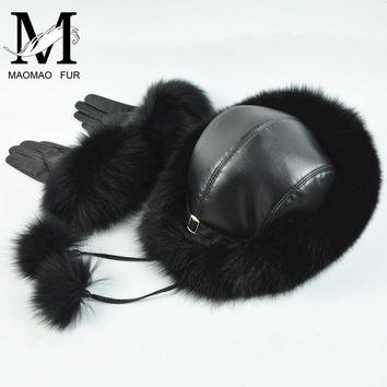 Real Fox Fur Hat and Gloves Set Women Furry Winter Fur Cap Leather Gloves Winter Snow Genuine Leather Fur Hat