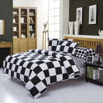 Black And White Classic Lattice Bedding Sets Custom Size Duvet Cover Set King Queen Size Bed Set Soft Bedclothes