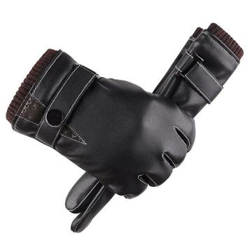 Men Winter Touched Screen Gloves Men's Leather Gloves Driving Glove Slip Men Thermal Winter Warm Gloves