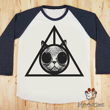Deathly Hallows Cat Glasses T-Shirt Cat T-Shirt Animal Shirt Women Shirt Unisex T-Shirt Long Sleeve Shirt Baseball Tee Raglan Shirt Size S