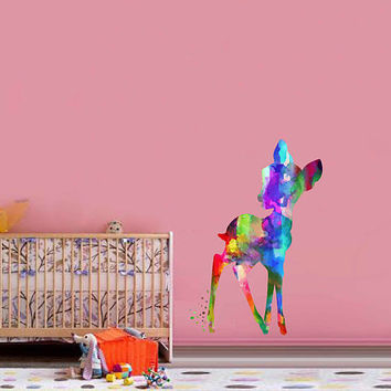 kcik2098 Full Color Wall decal Watercolor Bambi Character Disney Sticker Disney children's room Fawn