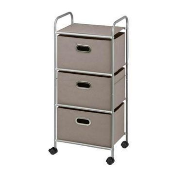 3 Drawer Rolling Cart Grey