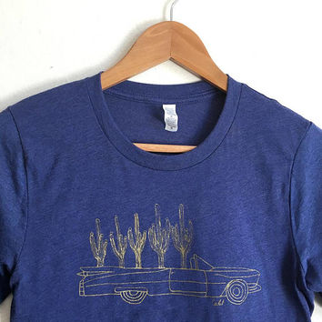 Unisex Blue Triblend Cactus Cadillac tee | 50/50 Soft Thin 3/4 blue heather mens tshirt raglan tee 70s 80s minimal classic car artist drawn