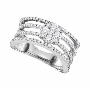 10kt White Gold Women's Round Diamond Four Row Flower Cluster Ring 1.00 Cttw - FREE Shipping (USA/CAN)