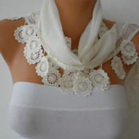 ON SALE - Creamy  White Scarf  - Cotton  Scarf -  Cowl  Scarf with Lace Edge - Bridesmaids Gifts - fatwoman