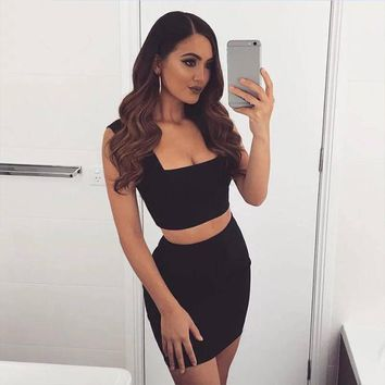 ADYCE Sexy Women Summer Bandage Dress Bodycon 2 Two-pieces Set Black White Apricot Celebrity Party Dress Club Wear Vestidos