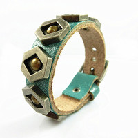 Fashion Punk Rivets Adjustable Leather Wristband Cuff Bracelet - Great for Men, Women, Teens, Boys, Girls 2549S
