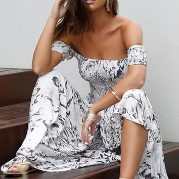 Print Off Shoulder Short Sleeve Women Maxi Long Dress Slash Neck Beach Sexy Party Dresses
