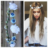ombre blue & white floral crown by elizabethaudreyxo on Etsy