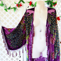 PURPLE PEACOCK ➳ BURNOUT VELVET BEADED FRINGE KIMONO