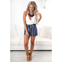 Urban Allure Striped Shorts (Navy)