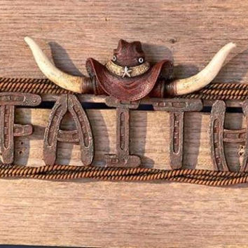 Country Western Home Decor Faith Wall Plaque Cowboy Hat Steer Horns Horseshoe