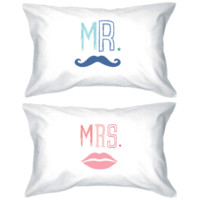 Mr. Mustache and Mrs. Lips Matching Couple Pillowcases