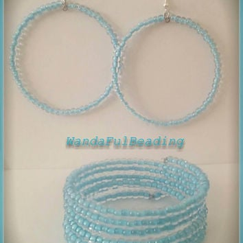 Clear & Blue Memory Wire Bracelet and Earring Set - $10.00 - Handmade Jewelry, Crafts and Unique Gifts by WandaFulBeading