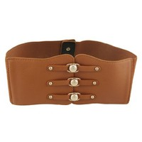 Brown Faux Leather 10CM Wide Elastic Cinch Belt for Lady