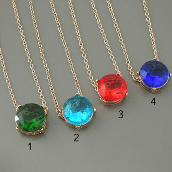 Layering Necklace - Crystal Necklace - Emerald Green - Aquamarine - Ruby Red - Sapphire Blue - Gold Necklace - Stocking Stuffer
