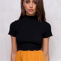 Minkpink Black Delicate Lettuce Edge Crop Top