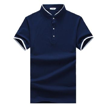 New 2017 summer fashion stand collar solid color polo shirt men casual cotton polo homme size m-5xl men's clothing DPL8