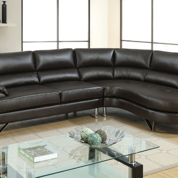 Poundex F6569 2 pc Madison espresso faux leather sectional sofa set with rounded chaise