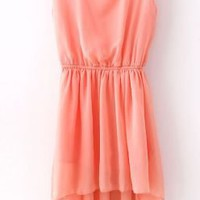 Pink Sequined Shoulder Sleeveless Dipped Hem Dress - Sheinside.com