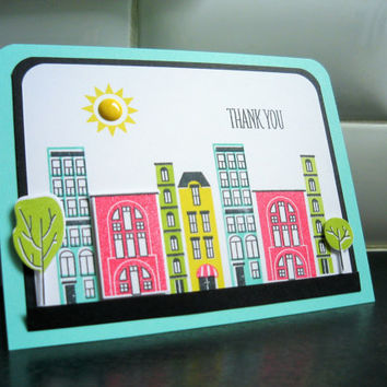 City Thank You Card, Handstamped Thank You Note