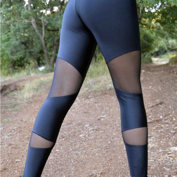 Handmade Black Leggings Geometric Shapes Athletic Bottoms Sports Pants Stretch Leggings Spandex Fabric Sexy Leggings Yoga Workout Pants Gym