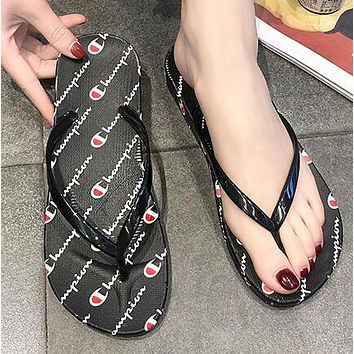 Champion Summer Popular Women Men Casual Flat Sandal Slipper Shoes Flip-Flops Black