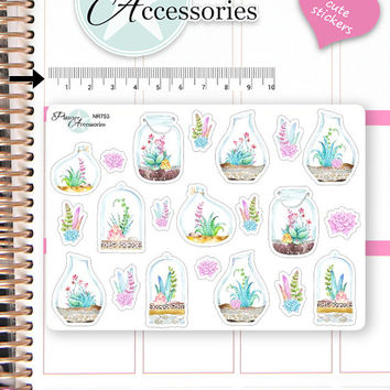 Succulent Stickers Plants Stickers Cactus Stickers Flower Stickers Planner Stickers Erin Condren Decorative Stickers Live Planner NR753