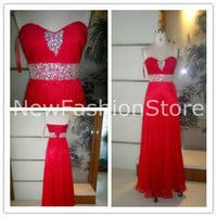 A Line Sweetheart Neckline Strapless Sleeveless Beading Red Chiffon Prom Dress