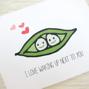 Cute Valentine. Valentines Day Card. - Peas in a Pod.