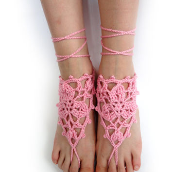 Pink Crocheted Barefoot Sandals - Foot Jewelry - Anklet - Beachwear Accessory