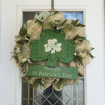 St. Patrick's Day Wreath - Rustic St. Patrick's Day Wreath - Irish Wreath - St. Patrick's Day Decor - St. Patrick's Day Decoration