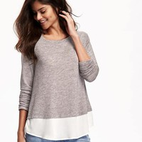 Relaxed Chiffon-Hem Sweater-Knit Top for Women | Old Navy