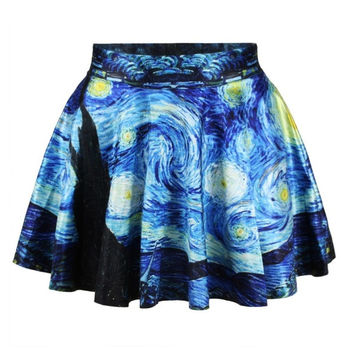 Women's fashion Van Gogh's Starry Night 3D digital printing new skirt (Size: 0, Color: Black) = 1946606276