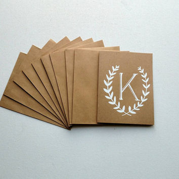 Set of 10 handmade monogrammed  note cards • Set of 10 Kraft note cards • Choice between white or black lettering.