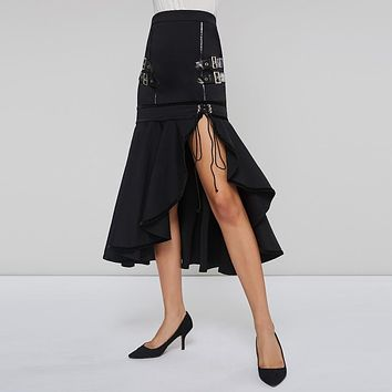 Sisjuly Gothic Sequined Bandage Lace Up Black Maxi Mermaid Skirt Women Asymmetric Split Spring Summer Skirt Long Ruffle Skirts
