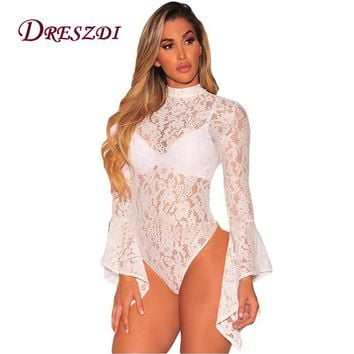 Dreszdi Vintage High Neck Lace Bodysuit Women Long Flared Sleeve Open Back Body Jumpsuit Sexy Bodycon Romper Overalls