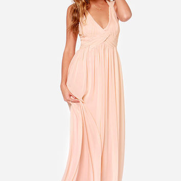 LULUS Exclusive Strike a Minerva Peach Maxi Dress