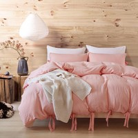 Fashion Brief Water Washed Cotton Duvet Cover Pillowcase Princess Girl Pink Victoria Secret Comforter Bedding set