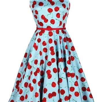 Blue Cherry Print Sleeveless Belted Chiffon Tent Mini Dress