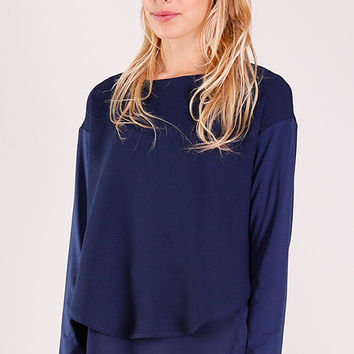 Navy Layered Knit Top